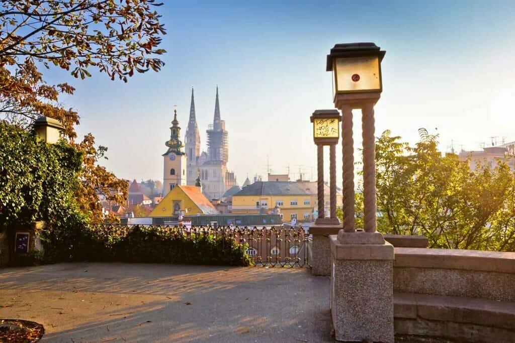 Zagreb towers sunrise view, Croatia